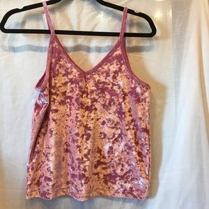 pink vs crushed velvet tank top